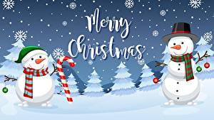 Фото Рождество Снеговики Английский Шарф Шляпа