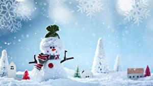 Фото Рождество Снеговики Снежинки