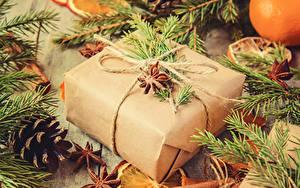 Картинки Рождество Бадьян звезда аниса Подарки Ветвь Шишки
