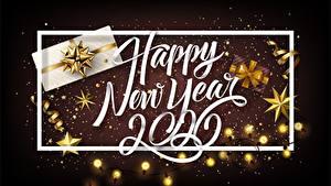 Картинка Новый год Звездочки Гирлянда Бант Слово - Надпись Английский 2020