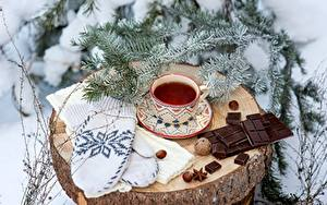 Картинки Рождество Чай Шоколадка Чашке Рукавицы Пне Ветвь Пища