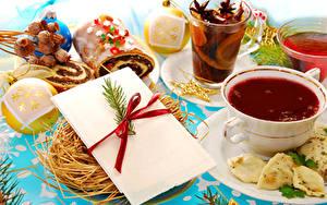 Фотография Новый год Чай Выпечка Чашка Шарики Стакане Еда