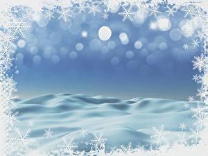 Фотографии Новый год Шаблон поздравительной открытки Снежинки Снег
