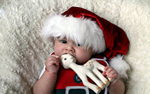 Фотография Новый год Игрушка Олени Грудной ребёнок Шапки