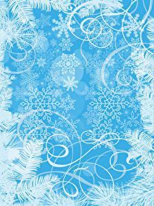 Картинки Новый год Орнамент Снежинки Шаблон поздравительной открытки
