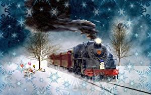Картинка Новый год Поезда Винтаж Снег Дымит Снежинка 2020