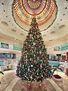 Фото Рождество США Интерьер Елка Шар Потолок South Coast Plaza