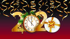 Фотография Новый год Векторная графика Часы 2020 Подарки Снежинки