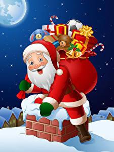 Фото Рождество Векторная графика Дед Мороз Подарков Униформе Крыше