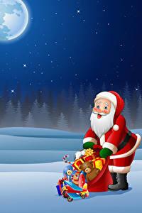 Картинка Рождество Векторная графика Санта-Клаус Униформе Подарок