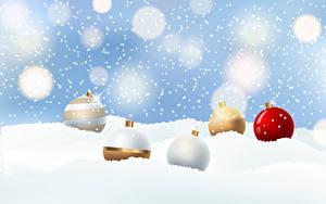 Картинка Новый год Векторная графика Снеге Шарики Снежинки