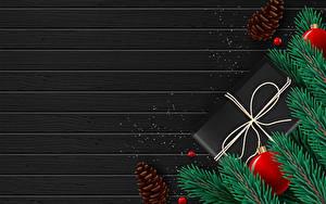 Фото Новый год Векторная графика Доски Ветка Шар Подарок Шишка Шаблон поздравительной открытки
