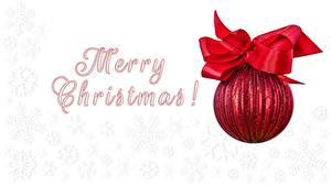 Фото Рождество Белый фон Бантик Шарики Снежинки Английский
