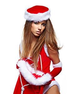Картинка Рождество Белый фон Шатенка Шапки Смотрит Девушки