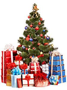Фотографии Рождество Белый фон Новогодняя ёлка Шар Подарки