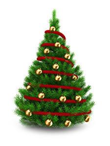 Фотография Рождество Белым фоном Новогодняя ёлка Шарики