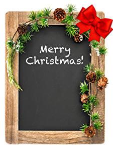 Фотография Новый год Белый фон Шаблон поздравительной открытки Ветки Шишки Бантик Английский