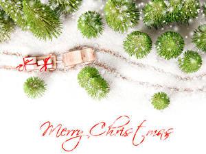 Картинка Новый год Зимние Английский Снега Подарки Санки Слово - Надпись