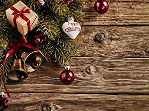 Фотография Рождество Доски Ветвь Шар Подарки Колокольчики Сердечко
