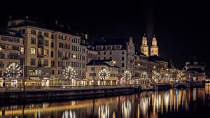 Фото Рождество Цюрих Швейцария Река Здания Ночные Гирлянда Улице город