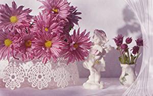 Обои Хризантемы Вазе Розовый Цветы