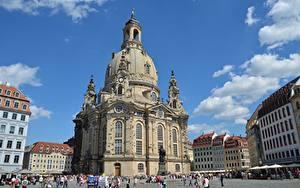Обои Церковь Дрезден Германия Улице Frauenkirche город