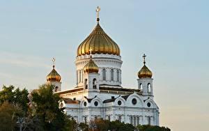 Картинки Церковь Храмы Россия Москва Купол Cathedral Of Christ The Saviour