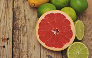 Картинки Цитрусовые Лимоны Грейпфрут Доски
