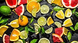 Картинки Цитрусовые Лайм Лимоны Нарезка