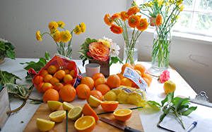 Картинка Цитрусовые Мандарины Апельсин Лимоны Лютик Роза Фрезия Ваза Цветы