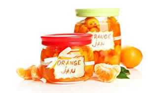 Обои для рабочего стола Цитрусовые Апельсин Варенье Банка Еда
