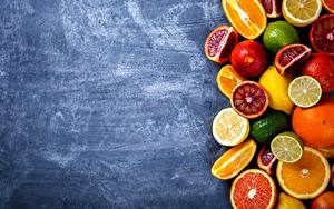 Фото Цитрусовые Апельсин Лимоны Грейпфрут Пища
