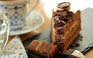 Обои для рабочего стола Вблизи Торты Шоколад Боке Кусок Пища
