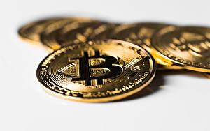 Картинки Крупным планом Монеты Деньги Биткоин Размытый фон Золотых