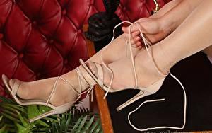 Картинка Вблизи Руки Ноги Туфлях Колготки девушка