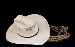 Фотографии Вблизи Шляпы Черный фон rope