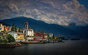 Фотография Берег Здания Швейцария Озеро Альп Lake Maggiore, Brissago город