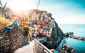 Фото Побережье Италия Здания Лигурия La Spezia