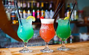 Фотографии Коктейль Алкогольные напитки Бокалы Три Еда