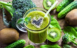 Фотография Коктейль Киви Овощи Стакан Зеленые Пища