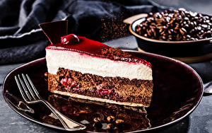 Обои Пирожное Кофе Торты Тарелка Вилки Зерно Кусок Продукты питания