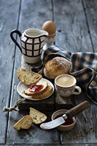 Картинки Кофе Капучино Хлеб Джем Ножик Доски Завтрак Кувшин Чашка Продукты питания