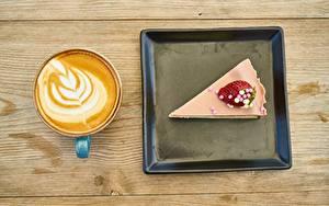 Фотографии Кофе Капучино Пирожное Десерт Доски Кусочки Чашке Пища