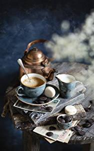 Картинки Кофе Капучино Шоколад Молоко Чайник Чашке Макарон Кувшины