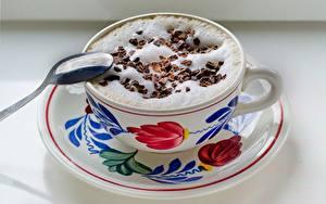 Картинки Кофе Капучино Шоколад Ложки Пене Чашке