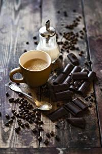 Картинка Кофе Капучино Шоколад Доски Чашке Зерна