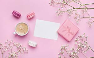 Обои Кофе Капучино Чашка Подарки Подарков Лист бумаги Шаблон поздравительной открытки Розовый фон Еда