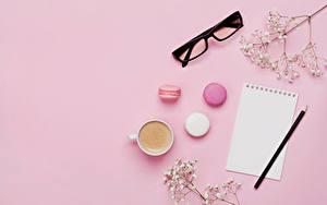 Обои Кофе Капучино Лист бумаги Чашка Чашке Очки Очков Розовый фон Еда
