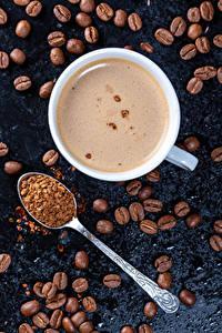 Картинки Кофе Капучино Чашка Зерна Ложка Пища