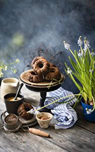 Картинки Кофе Капучино Кекс Доски Кружки Пища